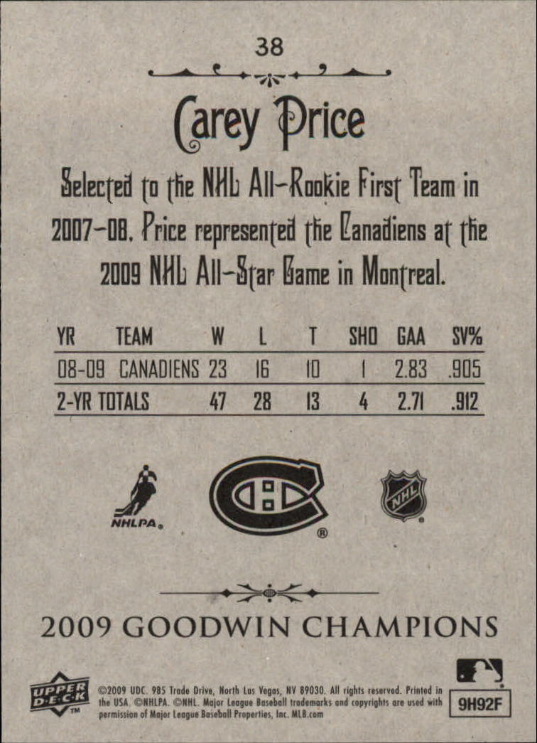 2009 Upper Deck Goodwin Champions #38 Carey Price back image