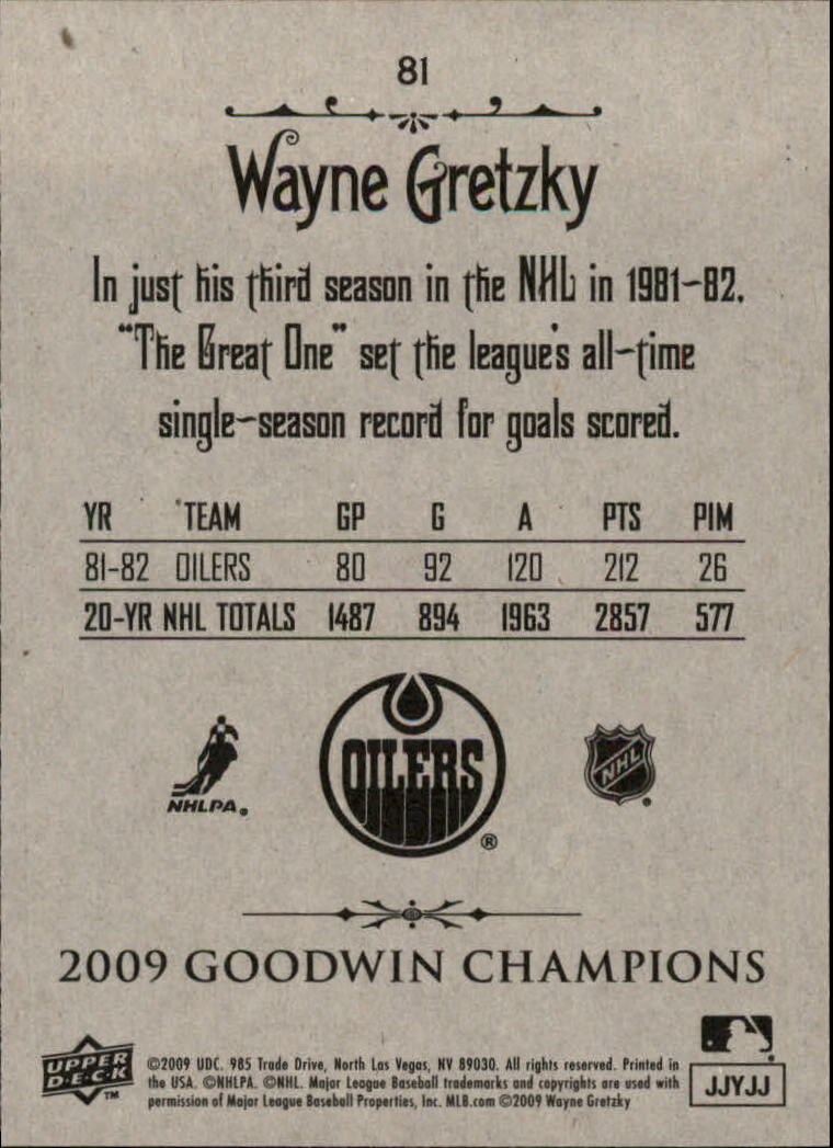 2009 Upper Deck Goodwin Champions #81 Wayne Gretzky back image
