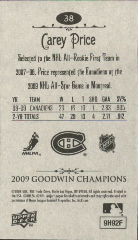 2009 Upper Deck Goodwin Champions Mini #38 Carey Price back image