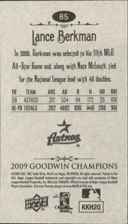 2009 Upper Deck Goodwin Champions Mini #85 Lance Berkman back image