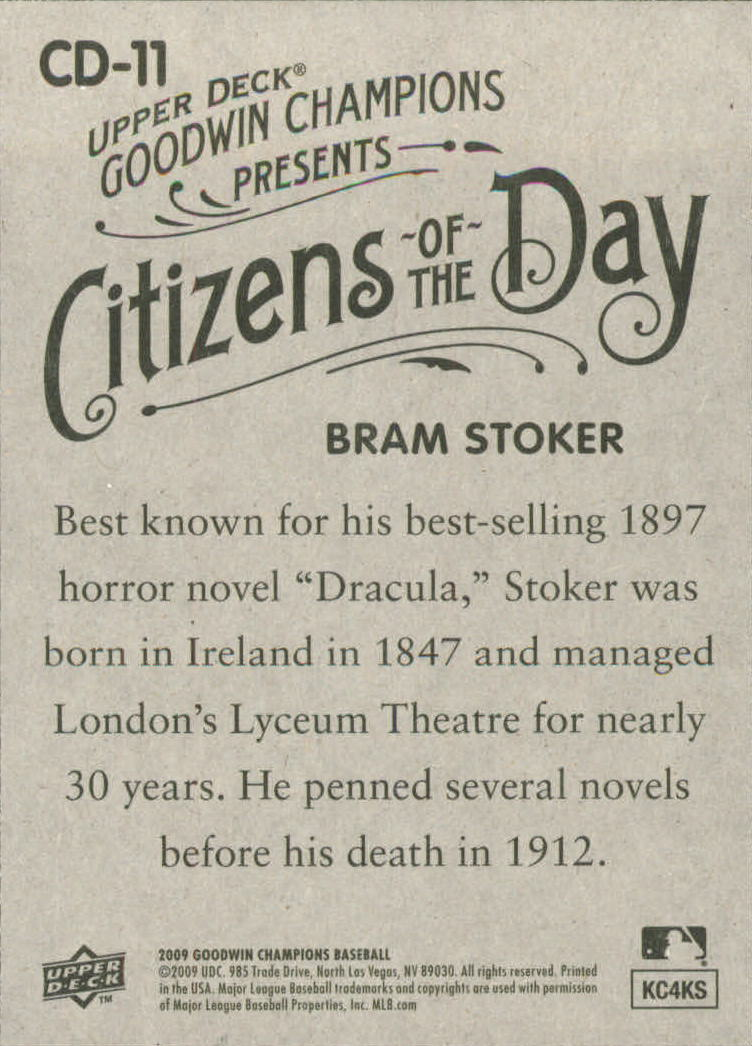2009 Upper Deck Goodwin Champions Citizens of the Day #CD11 Bram Stoker back image
