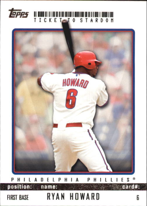 2009 Topps Ticket to Stardom #6 Ryan Howard
