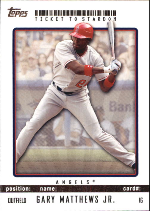 2009 Topps Ticket to Stardom #16 Gary Matthews Jr.