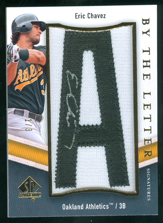 2009 SP Authentic By The Letter Signatures #EC Eric Chavez/54*/Letters spell Lion Of Alameda County/(each letter #'d/3)