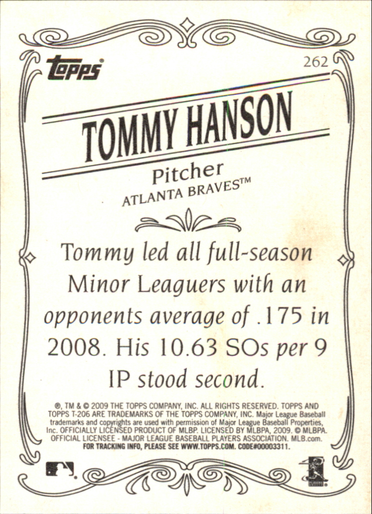 2009 Topps 206 #262a Tommy Hanson RC back image