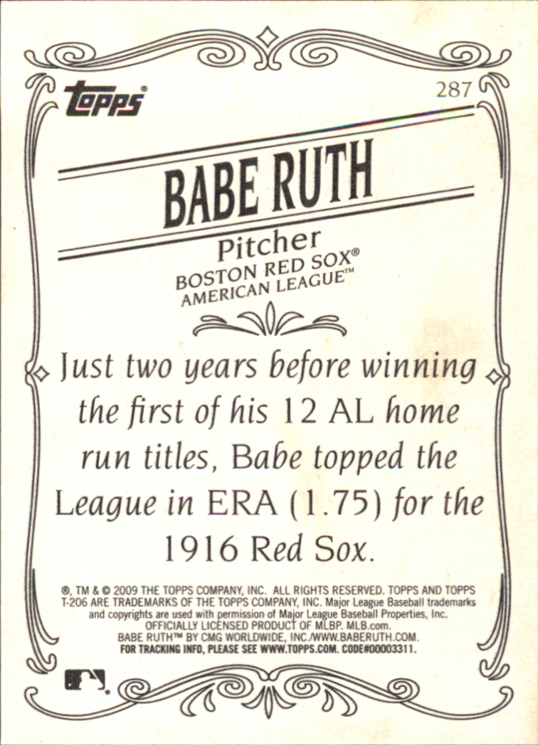 2009 Topps 206 #287a Babe Ruth back image