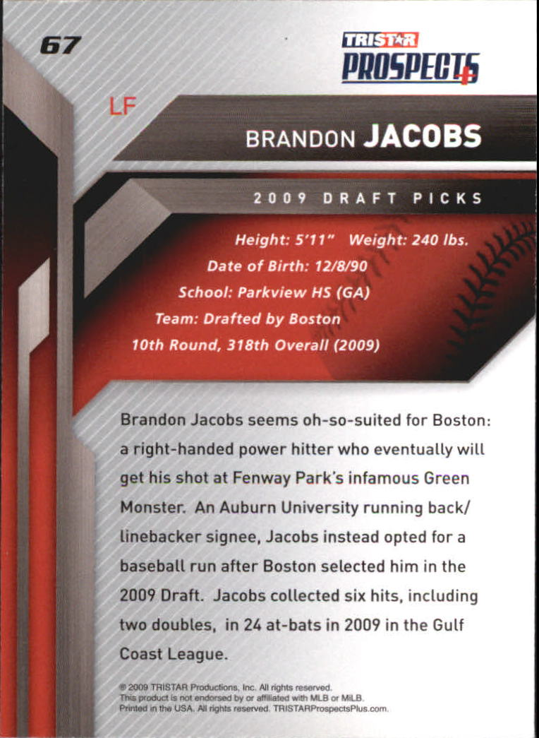 2009 TRISTAR Prospects Plus #67 Brandon Jacobs