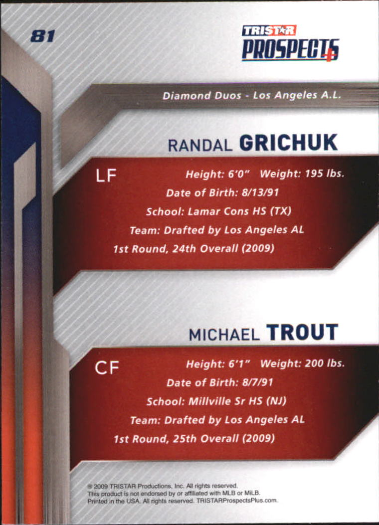 2009 TRISTAR Prospects Plus #81 Randal Grichuk/Michael Trout back image