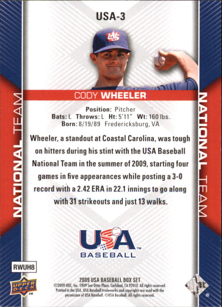 2009-10 USA Baseball #USA3 Cody Wheeler back image