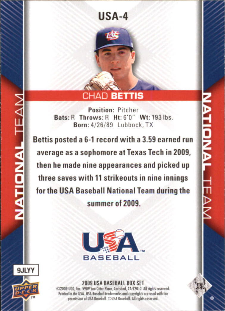 2009-10 USA Baseball #USA4 Chad Bettis back image