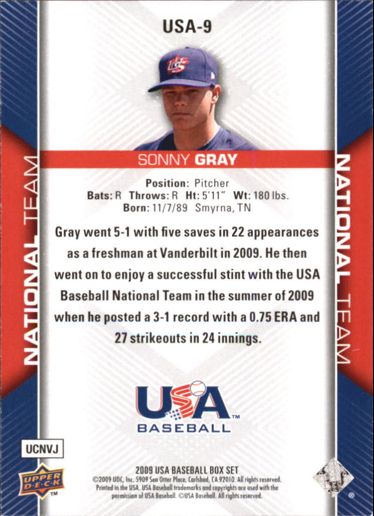 2009-10 USA Baseball #USA9 Sonny Gray back image