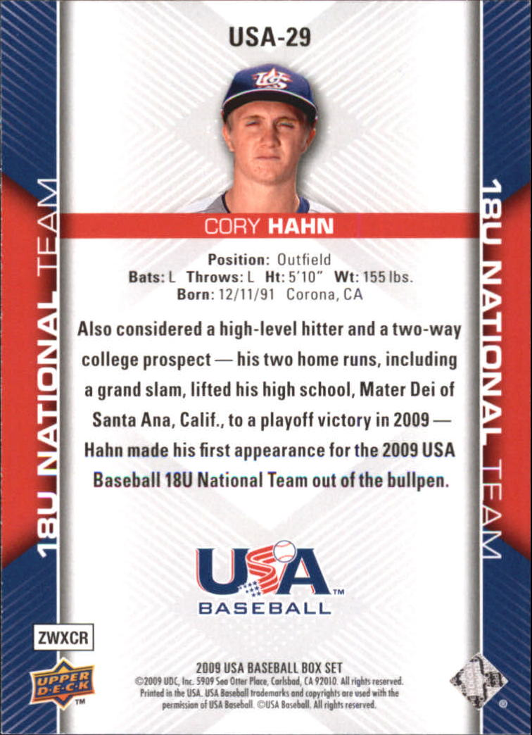 2009-10 USA Baseball #USA29 Cory Hahn back image
