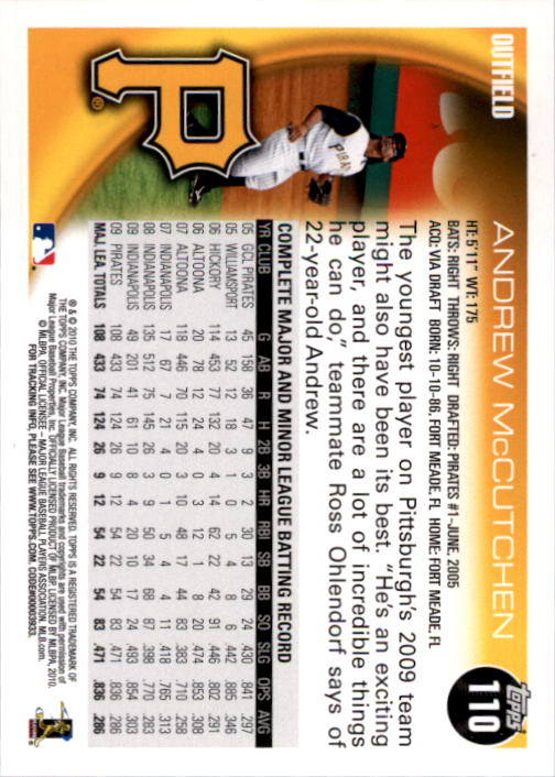2010 Topps #110A Andrew McCutchen back image