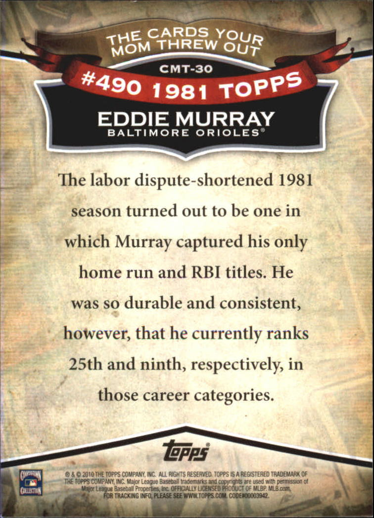 2010 Topps Cards Your Mom Threw Out #CMT30 Eddie Murray back image