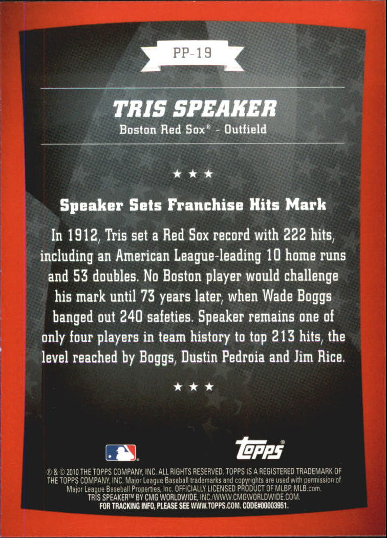2010 Topps Peak Performance #19 Tris Speaker back image