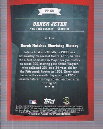 2010 Topps Peak Performance #59 Derek Jeter back image