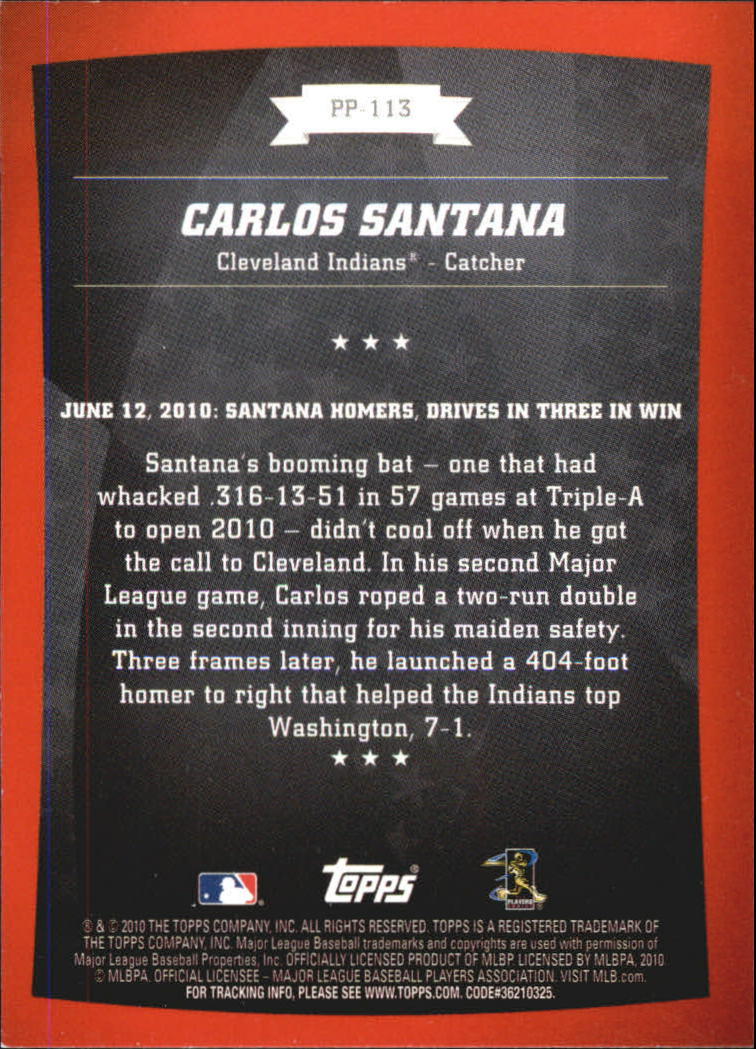 2010 Topps Peak Performance #113 Carlos Santana back image