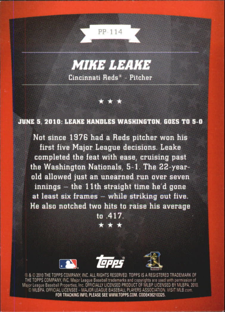 2010 Topps Peak Performance #114 Mike Leake back image