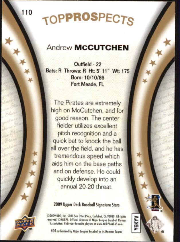 2009 Upper Deck Signature Stars #110 Andrew McCutchen (RC) back image