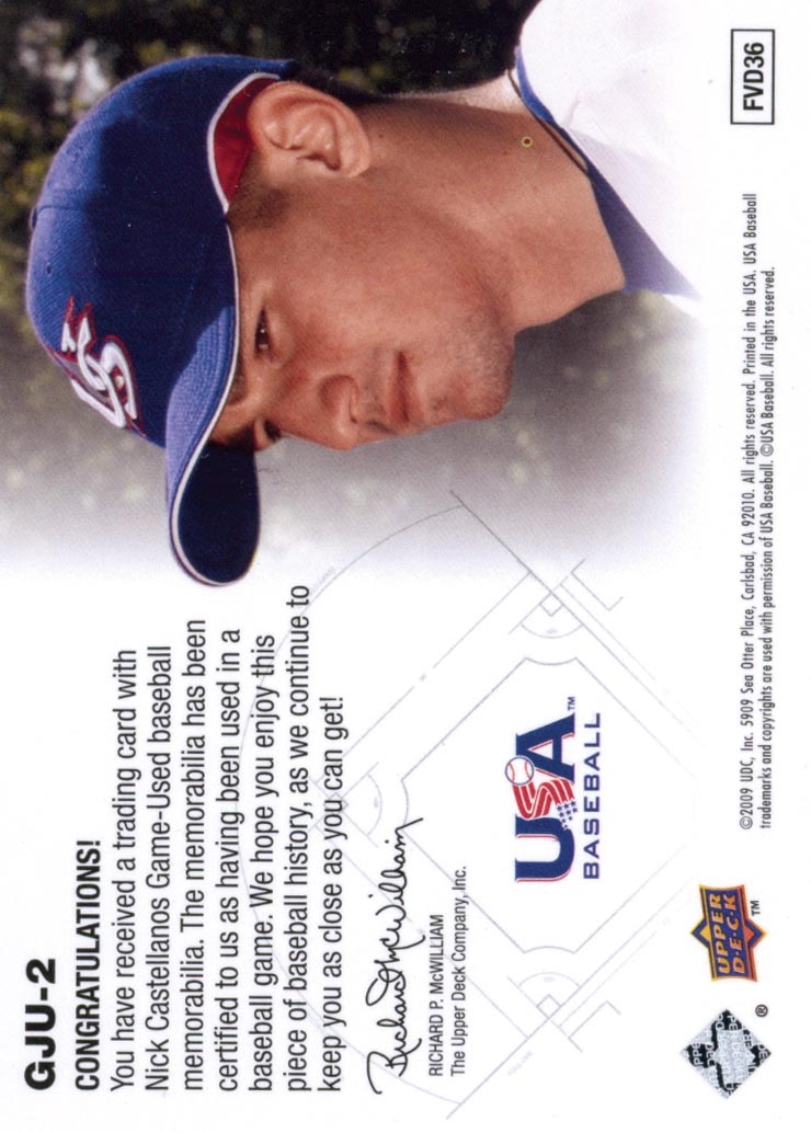 2009 Upper Deck Signature Stars USA Star Prospects Jerseys #2 Nick Castellanos back image