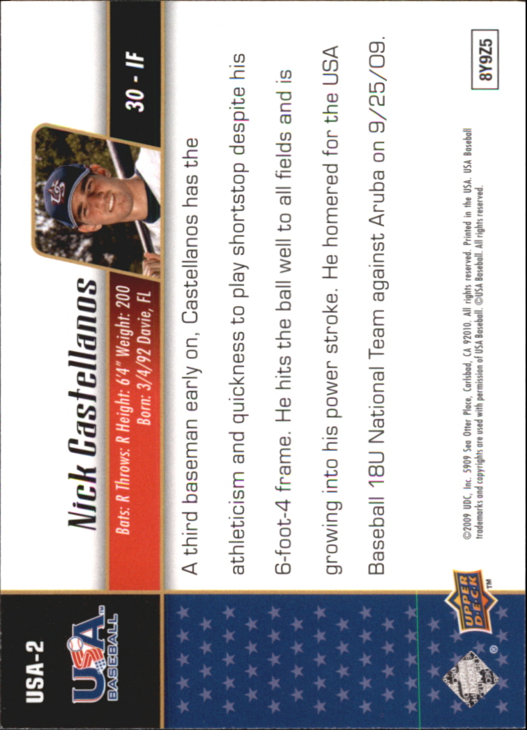 2009 Upper Deck Signature Stars USA Star Prospects #USA2 Nick Castellanos back image