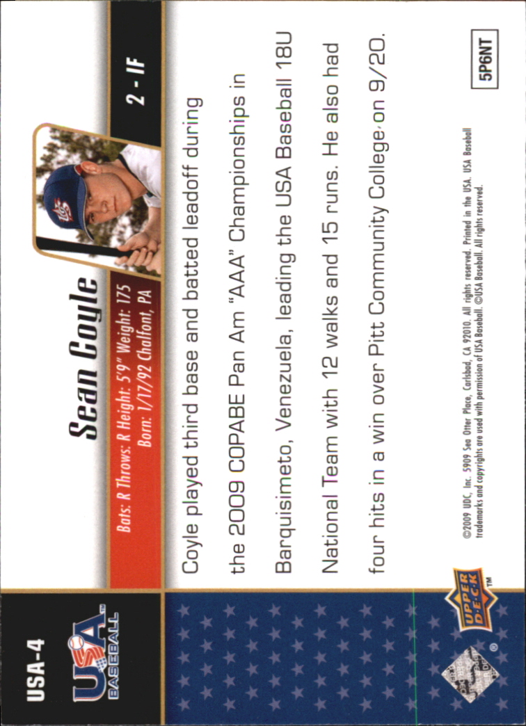2009 Upper Deck Signature Stars USA Star Prospects #USA4 Sean Coyle back image