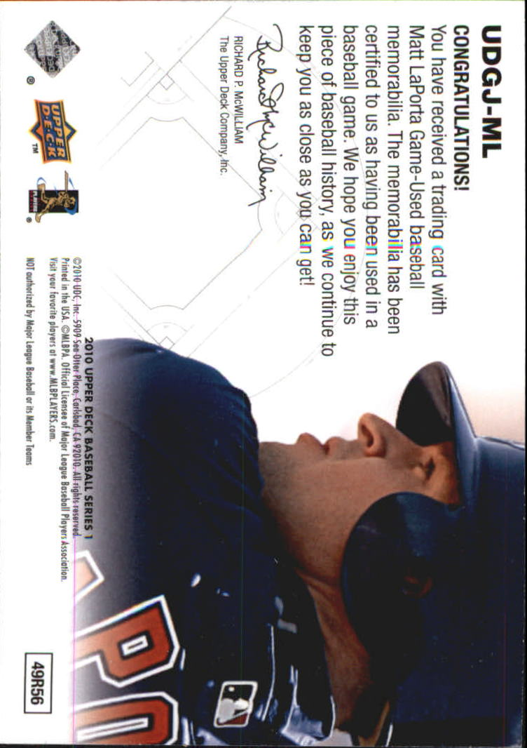 2010 Upper Deck UD Game Jersey #ML Matt LaPorta back image