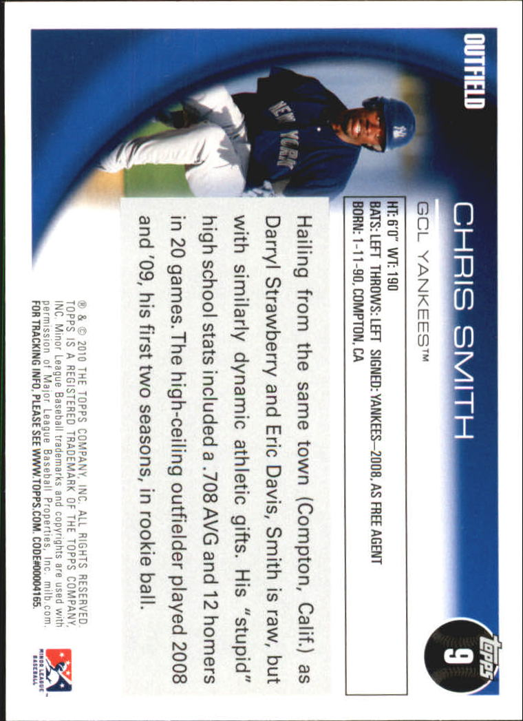 2010 Topps Pro Debut #9 Chris Smith back image