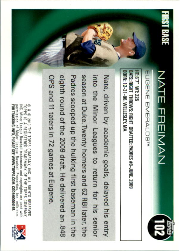 2010 Topps Pro Debut #102 Nate Freiman back image