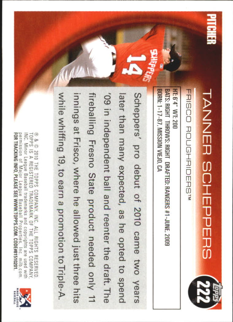 2010 Topps Pro Debut #222 Tanner Scheppers back image