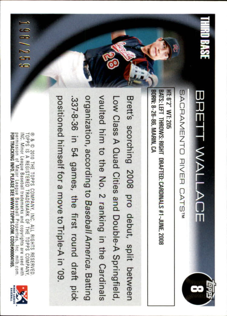 2010 Topps Pro Debut Blue #8 Brett Wallace back image