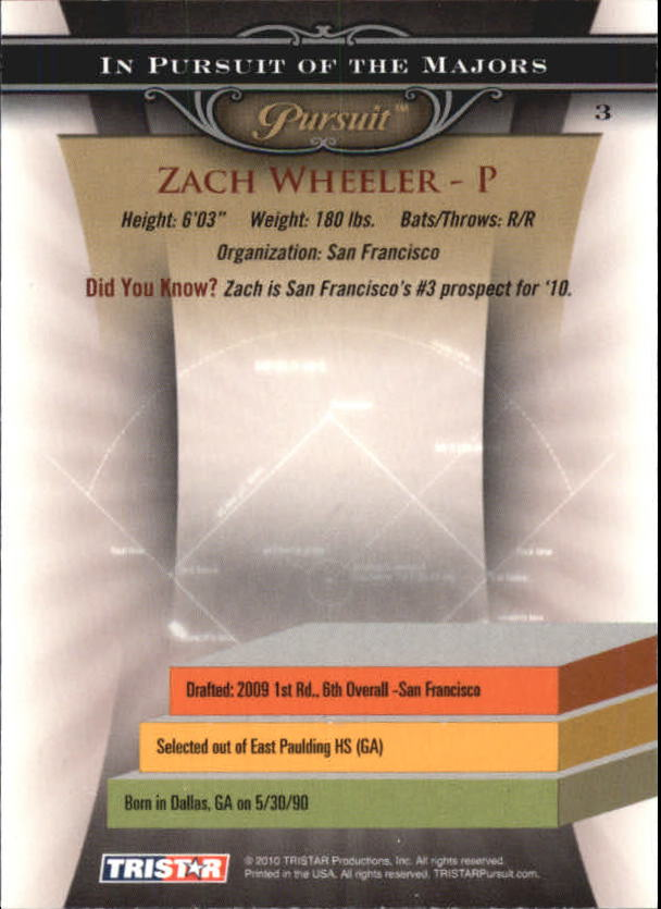 2010 TRISTAR Pursuit #3 Zach Wheeler back image