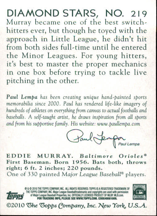 2010 Topps National Chicle #219 Eddie Murray back image