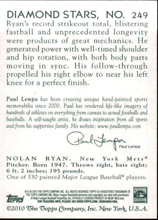 2010 Topps National Chicle #249 Nolan Ryan back image