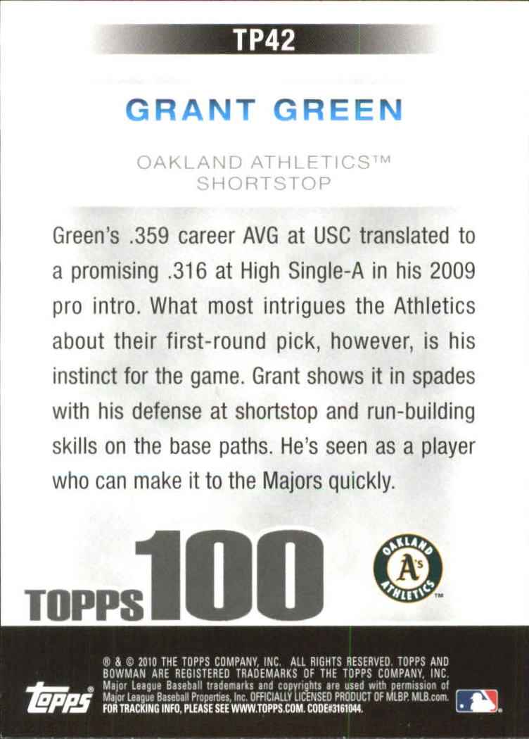 2010 Bowman Topps 100 Prospects #TP42 Grant Green back image