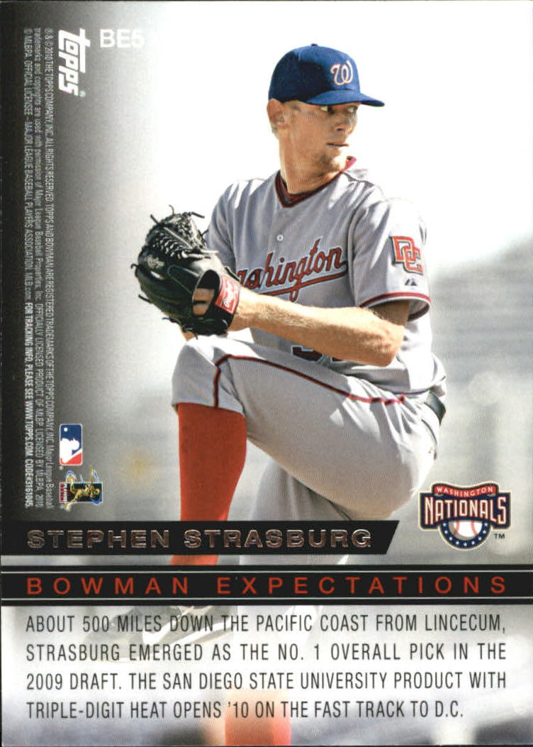2010 Bowman Expectations #BE5 Tim Lincecum/Stephen Strasburg back image