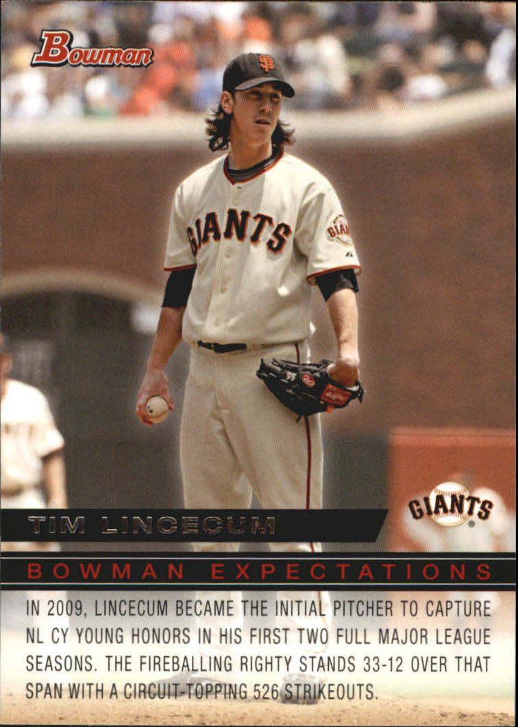 2010 Bowman Expectations #BE5 Tim Lincecum/Stephen Strasburg