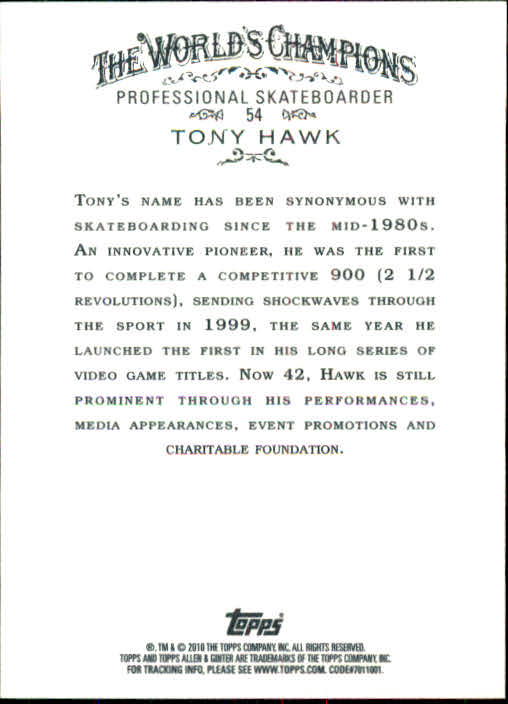 2010 Topps Allen and Ginter #54 Tony Hawk back image