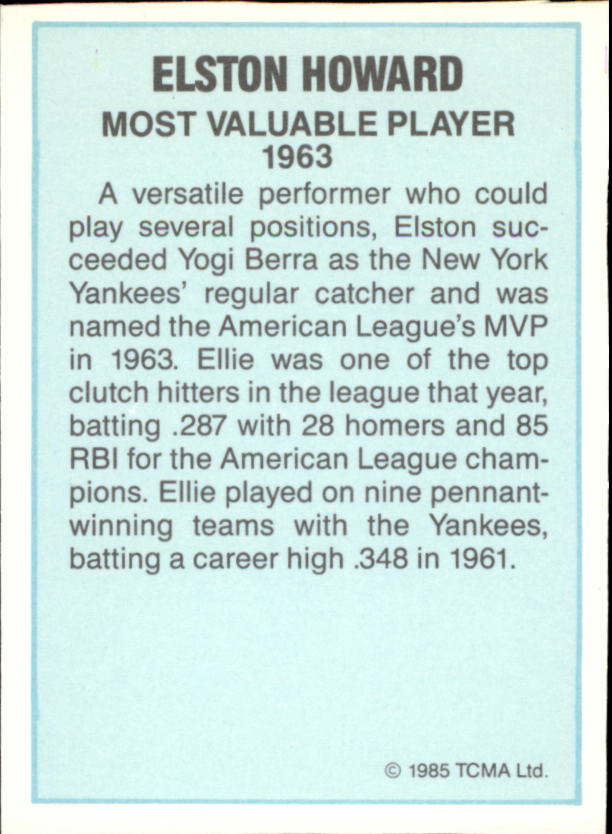 1985 TCMA AL MVP #3 Elston Howard