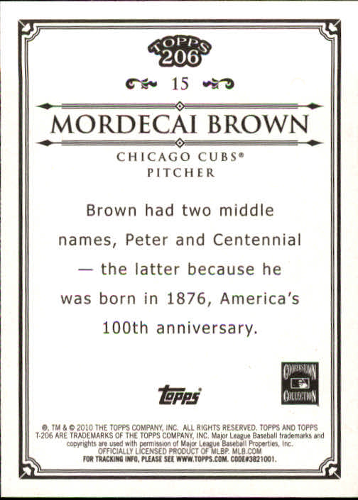 2010 Topps 206 #15 Mordecai Brown back image