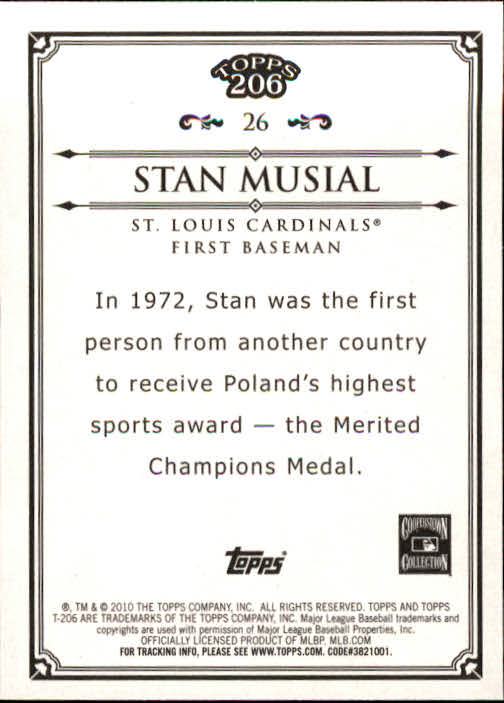 2010 Topps 206 #26 Stan Musial back image