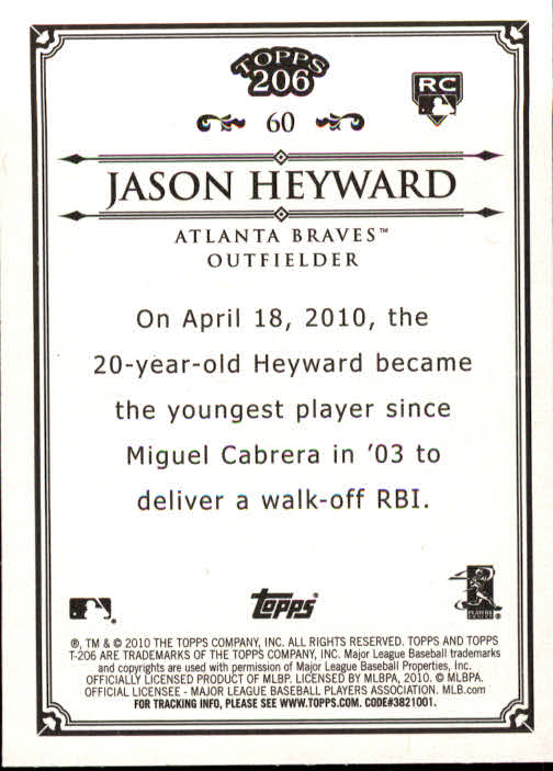 2010 Topps 206 #60 Jason Heyward RC back image