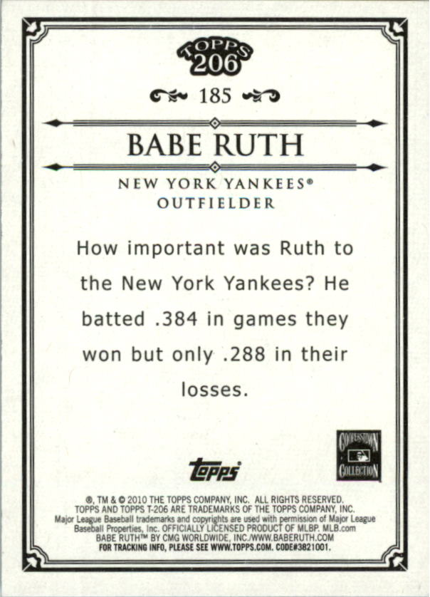 2010 Topps 206 #185 Babe Ruth back image