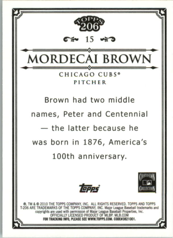 2010 Topps 206 Bronze #15 Mordecai Brown back image