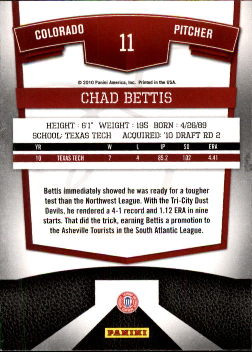 2010 Donruss Elite Extra Edition #11 Chad Bettis back image