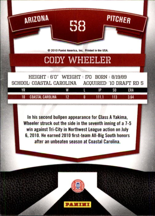 2010 Donruss Elite Extra Edition #58 Cody Wheeler back image