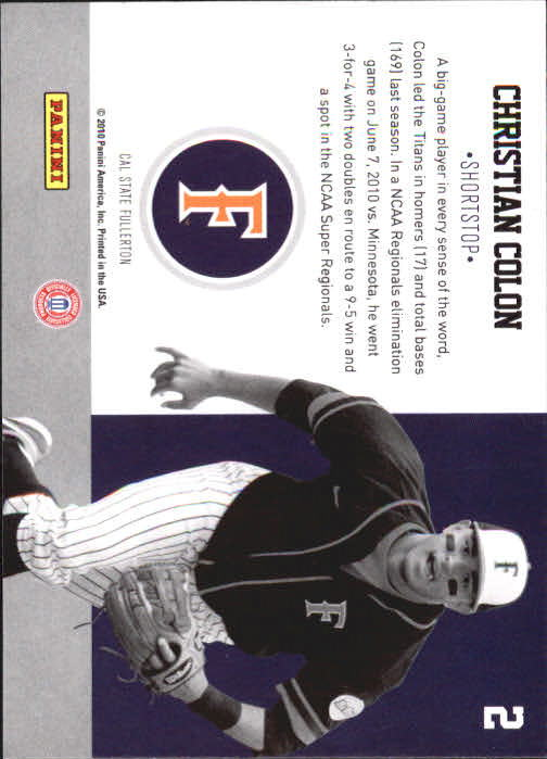 2010 Donruss Elite Extra Edition School Colors #2 Christian Colon back image
