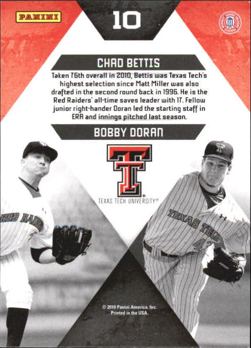 2010 Donruss Elite Extra Edition College Ties #10 Chad Bettis/Bobby Doran back image