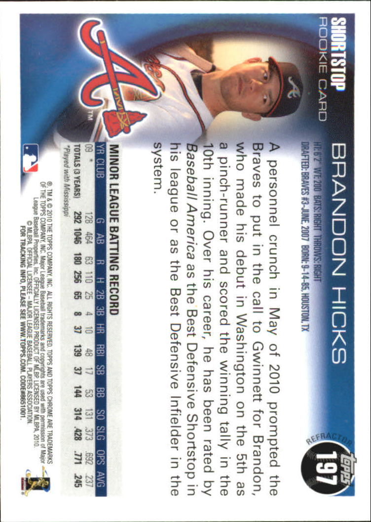 2010 Topps Chrome Refractors #197 Brandon Hicks back image