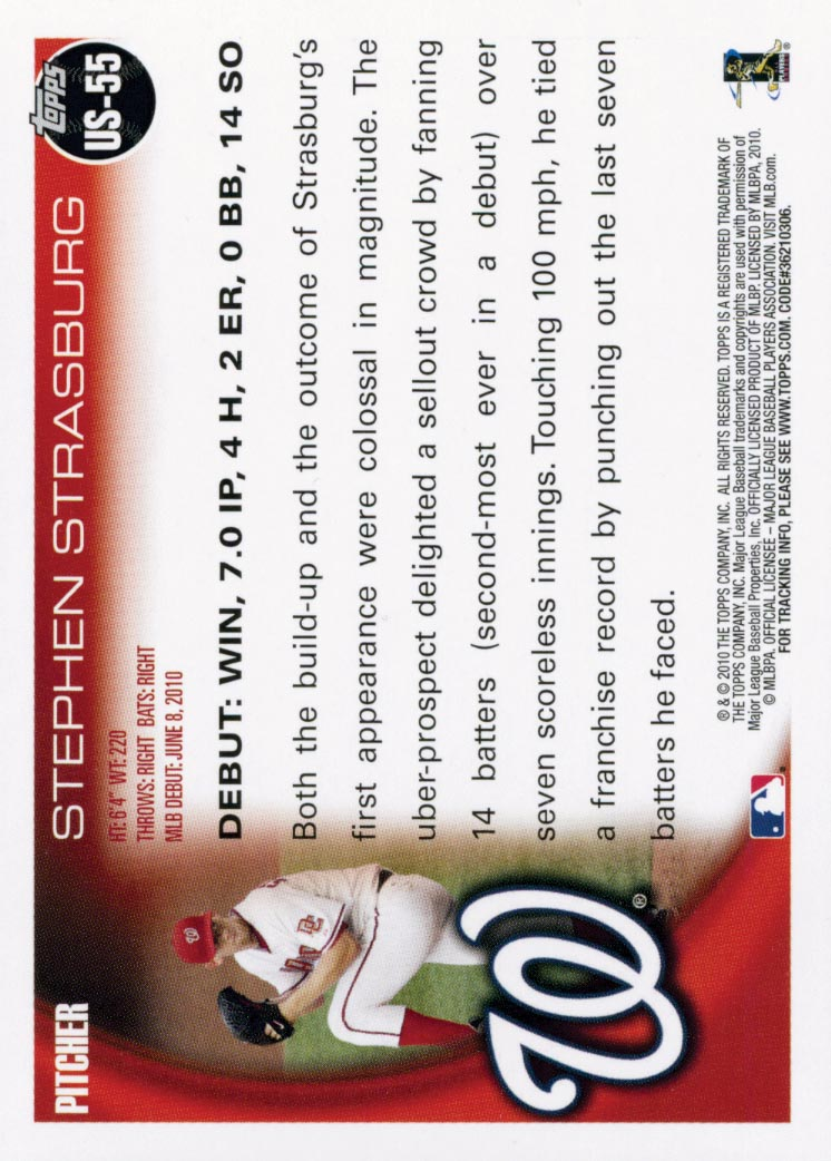 2010 Topps Update #US55 Stephen Strasburg back image